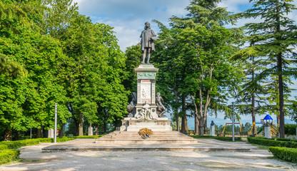 Raffaello monument in Urbino, city and World Heritage Site in the Marche region of Italy.