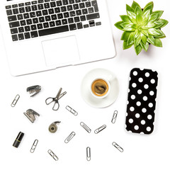 Flat lay home office desk workspace laptop supplies coffee succulent