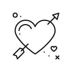 Love line arrow heart icon. Happy Valentine day sign and symbol. Love, couple, relationship, dating, wedding, holiday, romantic amour tattoo theme.