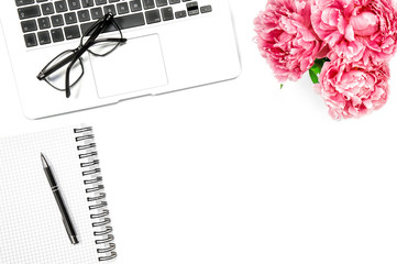Feminine flat lay Laptop notebook pink peony flowers