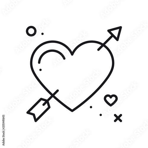 Love Line Arrow Heart Icon Happy Valentine Day Sign And Symbol
