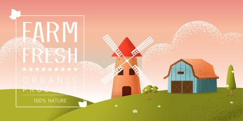 farm landscape Vector texture style concept illustration