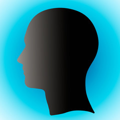 Illustration of head of head, silhouette of head with place for text placement