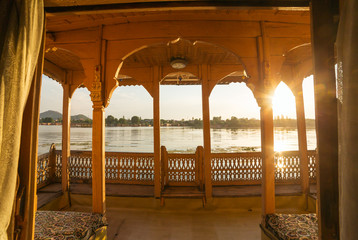 View from the traditional houseboat on Dal lake in Srinagar, Kashmir, India