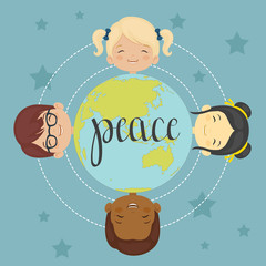 Happy children around the world. Vector illustration