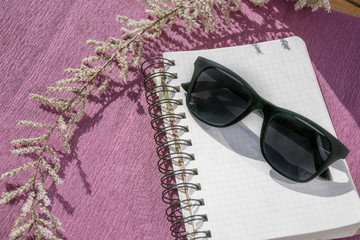 Sunglasses and notepad isolated on pink paper