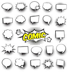 Fotobehang Pop Art Big Set of Cartoon,Comic Speech Bubbles, Empty Dialog Clouds with Halftone Dot Background in Pop Art Style. Vector Illustration for Comics Book , Social Media Banners, Promotional Material