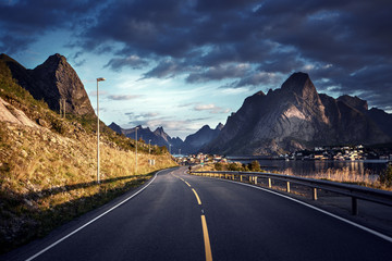 road by the sea, Reine, Lofoten islands, Norway