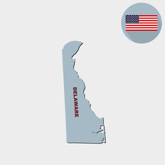 Map of the U.S. state of Delaware on a grey background. Flag, state name.