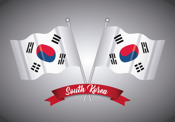 south korea design with decorative ribbon and flags over gray background, colorful design. vector illustration