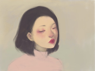 Color pencil drawing of thoughtful Asian girl looking down with tilted chin, wearing vintage pink turtleneck sweater on tan background
