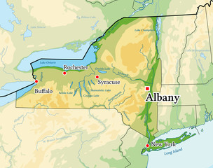 New York State physical map.