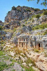 Ancient city of Myra near Demre. Turkey. Asia Minor, ancient tombs in the rock