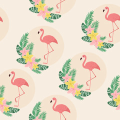 Flamingos exotic seamless pattern