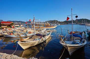 Marine parking of boats and yachts in Kekova is a sunken city in Turkey.