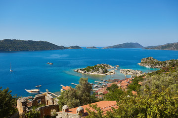 Scenic view of of Kekova Island and Kalekoy from Simena Castle, Turkey.