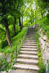 Path up to Observatoriekullen in Stockholm Sweden. Beautiful paths up to an extraordinary view of Stockholm and its skyline. Very green and flourishing during summer.