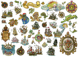Set with nautical icons isolated on white. Pirate adventures, treasure hunt and old transportation concept. Hand drawn colorful illustration, vintage collection