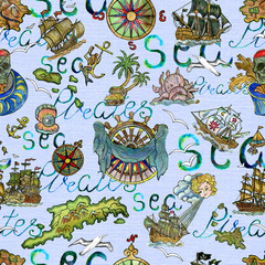 Seamless background with nautical symbols, old ships, treasure island and lettering on light blue. Pirate adventures, treasure hunt and old transportation concept.
