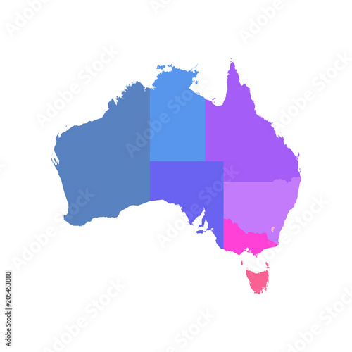 Colorful blank map of Australia. Vector illustration.\