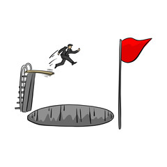 businessman jumping over big hole to reach red flag vector illustration sketch doodle hand drawn with black lines isolated on white background