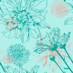 Vector Seamless Pattern with Chrysanthemums