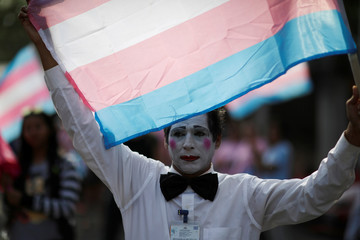 A participant holds up a transgender pride flag to mark the International Day Against Homophobia, Transphobia, and Biphobia in San Salvador, El Salvador