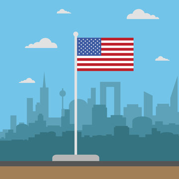 USA Flag, flat style with city , behind