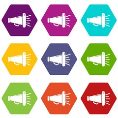 Megaphone icons 9 set coloful isolated on white for web