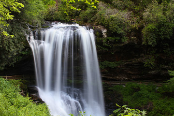 Dry Falls a 65-foot waterfall located in the Nantahala National Forest, North Carolina.