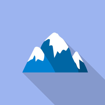 Snow cap mountain icon. Flat illustration of snow cap mountain vector icon for web design