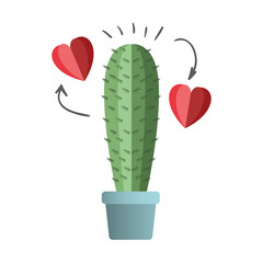 cactus in pot houseplant with heart vector illustration design