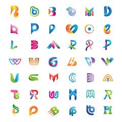 set of logo initial color 3d alphabet