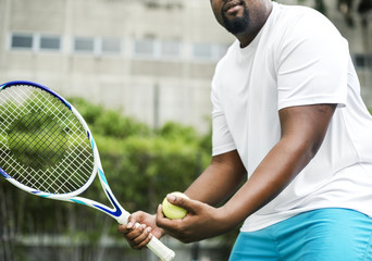Player getting ready for a serve in tennis