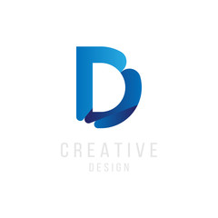 Original Letter D in blue colour for logotype. Vector sign logo design template. Flat illustration EPS10