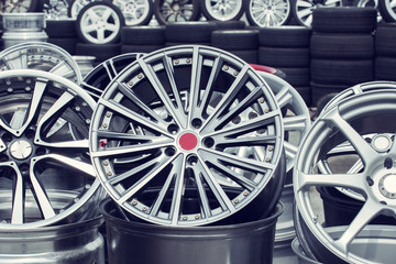 Wheel rims on showcase
