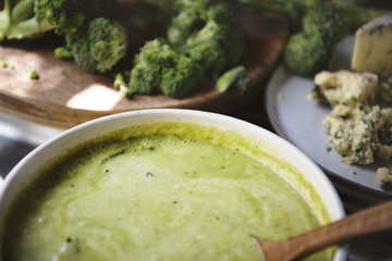 Broccoli soup food photography recipe idea