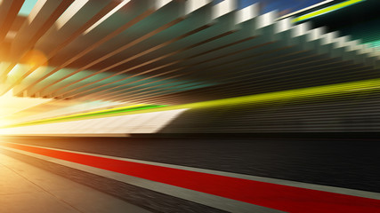 Wall Mural - Side view motion blurred racetrack with sunset background .