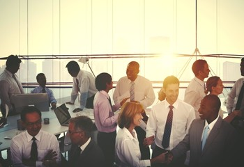 Large group of business people in an office