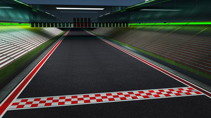 View of the infinity empty asphalt international race track with start and finish line, night scene .  3d rendering .