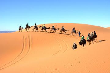 サハラ砂漠でラクダに乗る観光客