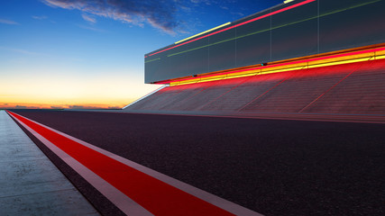 View of the infinity empty asphalt international race track with red and white line, evening scene .  3d rendering .