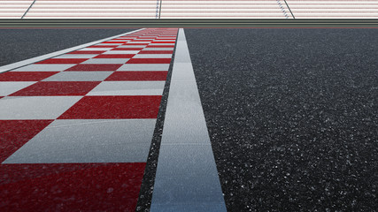 Low angle side view empty asphalt international race track with start and finish line.  3d rendering .