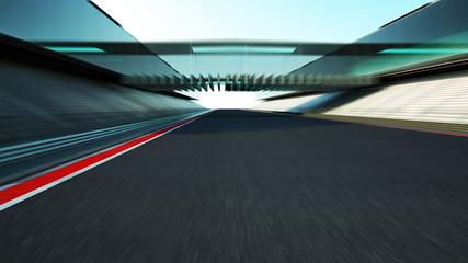 Side view motion blur empty asphalt international race track with modern glass facade bridge.