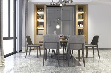 3d rendering nice wood dining room with shelf decor idea