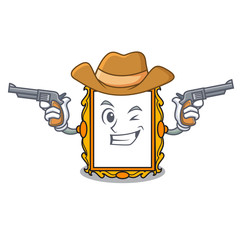 Cowboy picture frame character cartoon