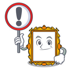 With sign picture frame character cartoon