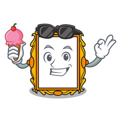 With ice cream picture frame character cartoon