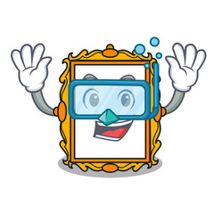 Diving picture frame character cartoon