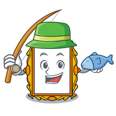Fishing picture frame mascot cartoon